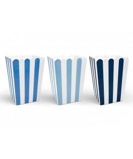 6 Boîtes à popcorn tons bleus