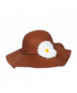 Chapeau Hippie marron à fleur blanche