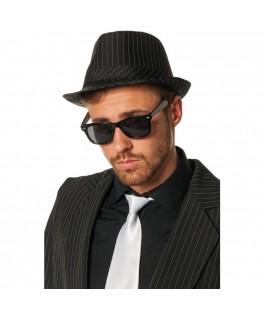 Chapeau gangster Borsalino noir ligné