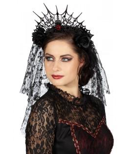 Tiare gothique avec voile dentelle noir et oeil