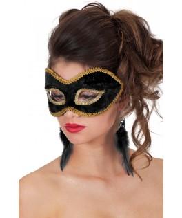 Masque velours uni noir et or
