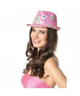 Chapeau Hippie Trilby rose à fleurs