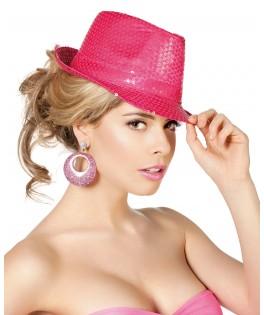 Chapeau gangster Borsalino sequins fluo rose