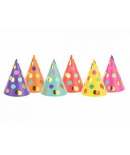 6 Chapeaux pointus multicolores à pois