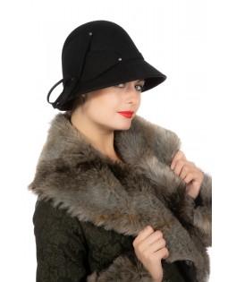 Chapeau dame noir Roaring 20's