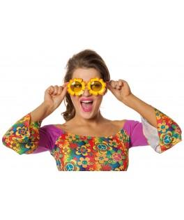 Lunettes Hippie fleurs jaunes
