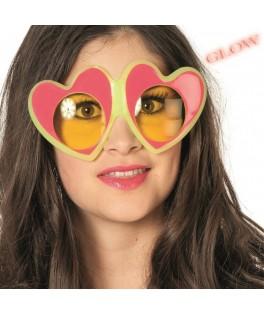 Lunettes coeur rose à strass