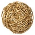 Assortiment de 10 boules en rotin or