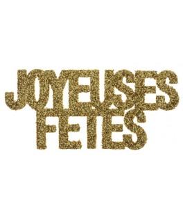 Confettis de table Joyeuses Fêtes pailletés blanc  x6