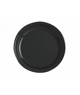 assiettes rondes noires