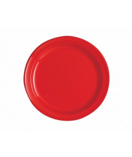 assiettes rondes rouges