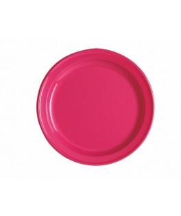 assiettes rondes fuschia x12