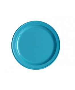 assiettes rondes turquoise
