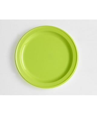 assiettes rondes vert anis