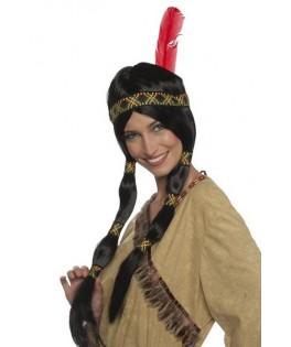 Perruque Indienne femme Sioux à nattes
