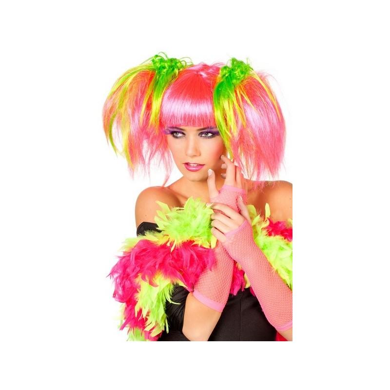 Perruque Manga Fluo rose femme - Happy Fiesta