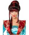 perruque chinoise noir et rouge avec chopsticks