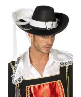 chapeau mousquetaire noir grand luxe homme