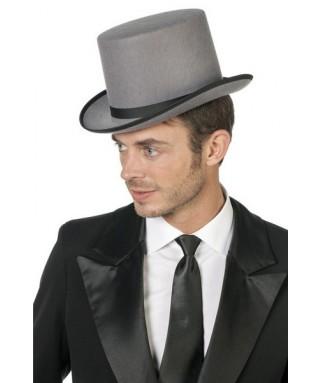 chapeau haut de forme gris homme