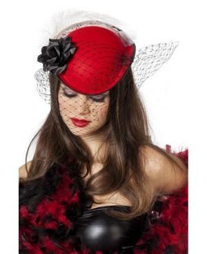 Chapeau Cabaret noir à voilette et fleur rouge femme
