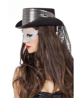 chapeau noir a bandeau pailleté argent femme