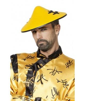 chapeau chinois jaune homme