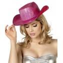 Chapeau Cowboy à sequins fushia femme
