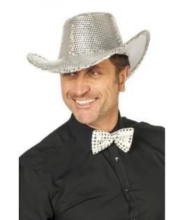 Chapeau Cowboy à paillettes argent