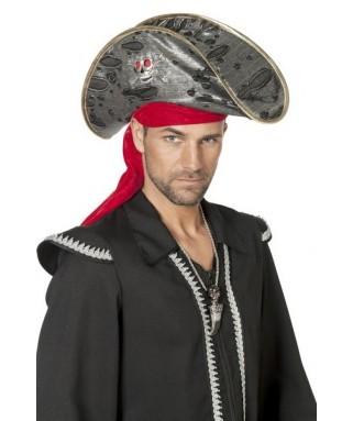 chapeau pirate tête de mort et bandeau homme
