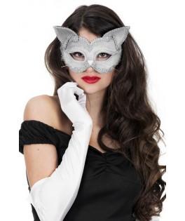 masque lunettes chats argent