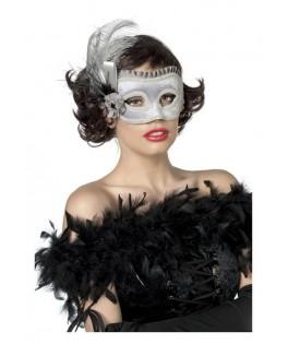 Masque lunettes argent à plumes