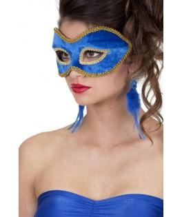 masque lunettes velours uni bleu