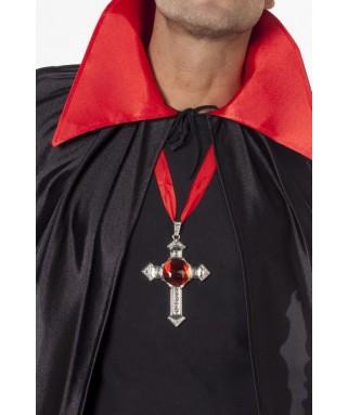 chaine gothique crucifix a pierre rouge