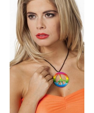 collier love & peace multicolore