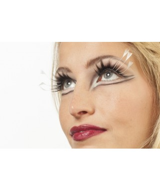 faux-cils plumes longues  blanches