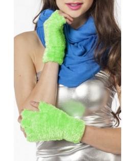 mitaines peluche fluo vert