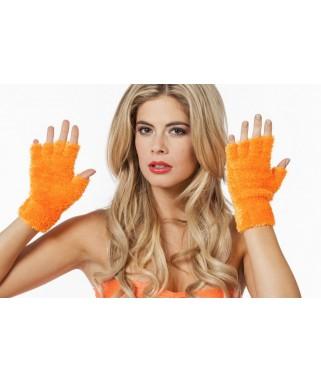 mitaines peluche fluo orange
