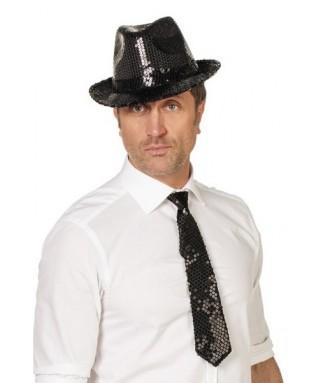 cravatte paillettes noires