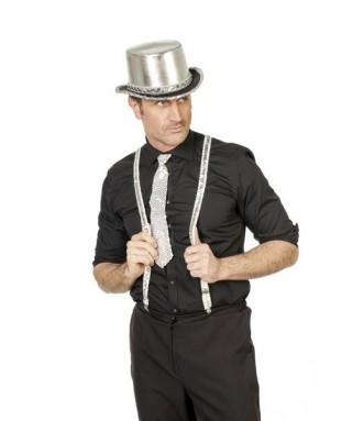 cravatte paillettes argent