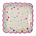 8 Assiettes carrées confettis Charms 23 cm