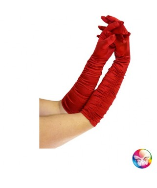 gants satines rouges