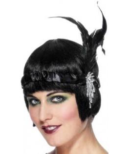 Bandeau Charleston noir plumes noires