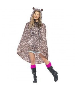 poncho party leopard impermeable fluo