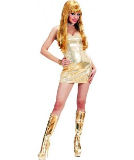 deguisement robe disco fever paillettee or