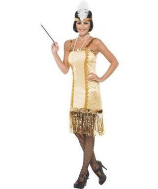 deguisement robe charleston beige et or