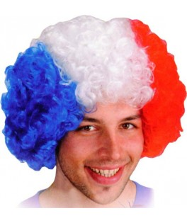 Perruque Supporter afro tricolore de luxe