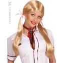 Perruque longue écolière à couettes blondes