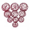 10 Assortiment boules métal rouge