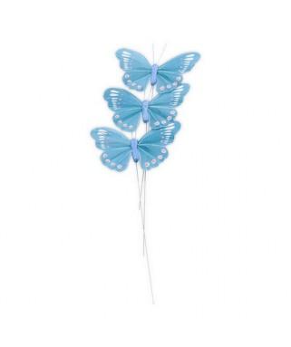 papillon sur tige turquoise
