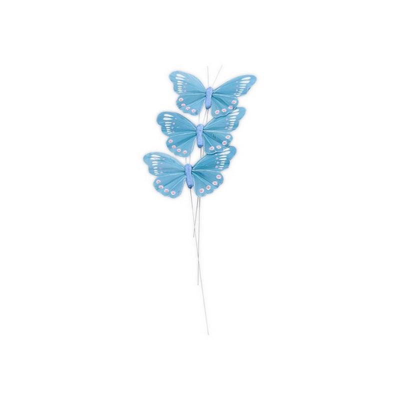 D coration de table papillons sur tige turquoise happy fiesta lyon - Papillon sur tige ...